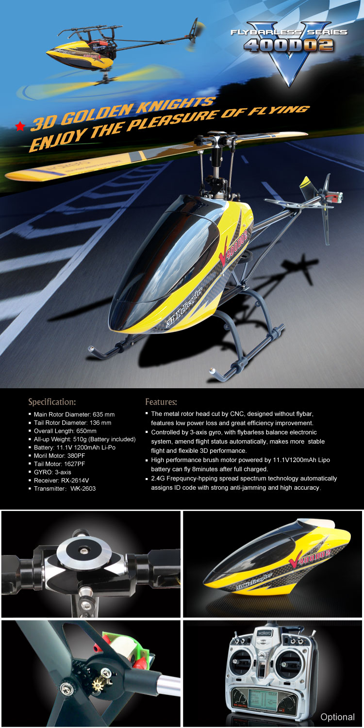Walkera Flybarless RC radio control helicopter V400D02 ...
